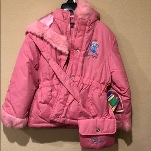 Pink Disney Princesses jacket with small purse